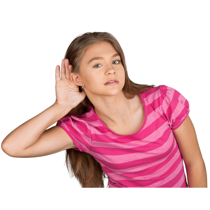 girl with hand on ear listening