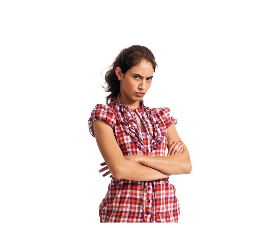 woman looking mad with arms crossed