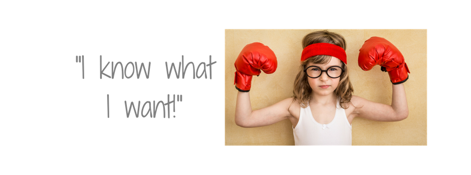 """I know what I want!"" picture of girl with boxe gloves"