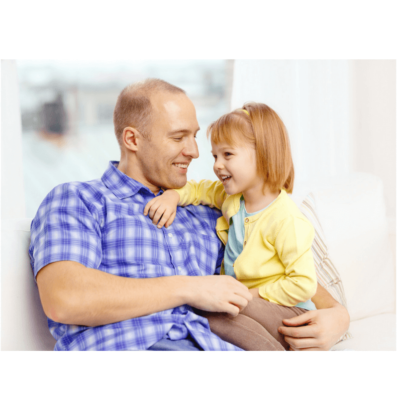 father and daughter talking and laughing