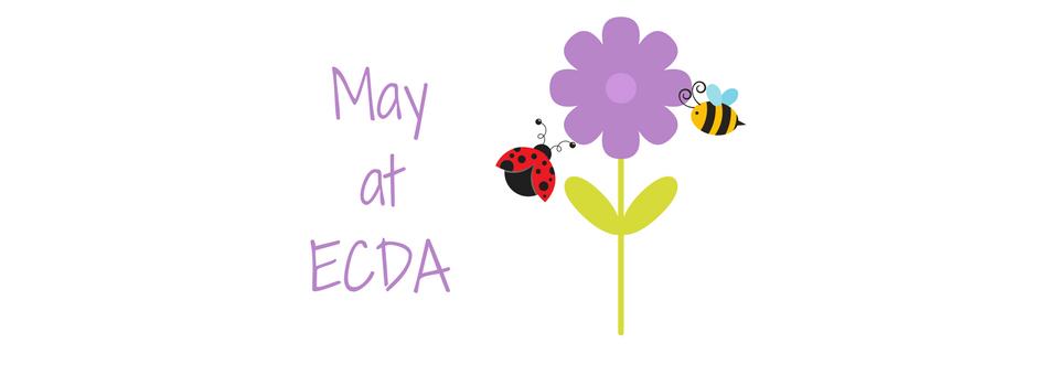 """May at ECDA"" image of flower, ladybug and bee"