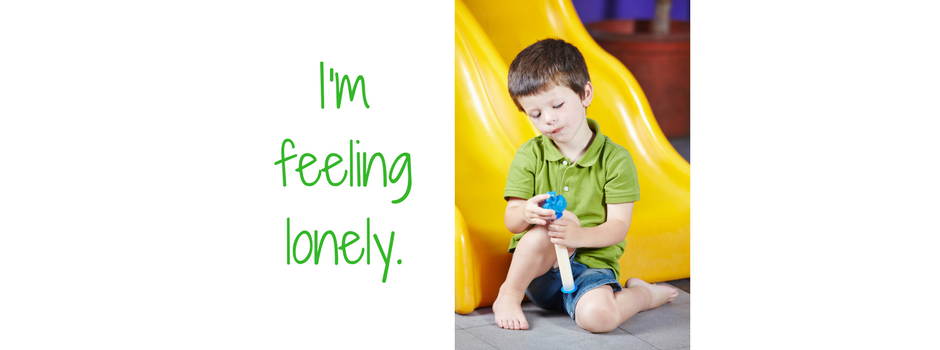 """""""I'm feeling lonely"""" Picture of a child sitting alone"""