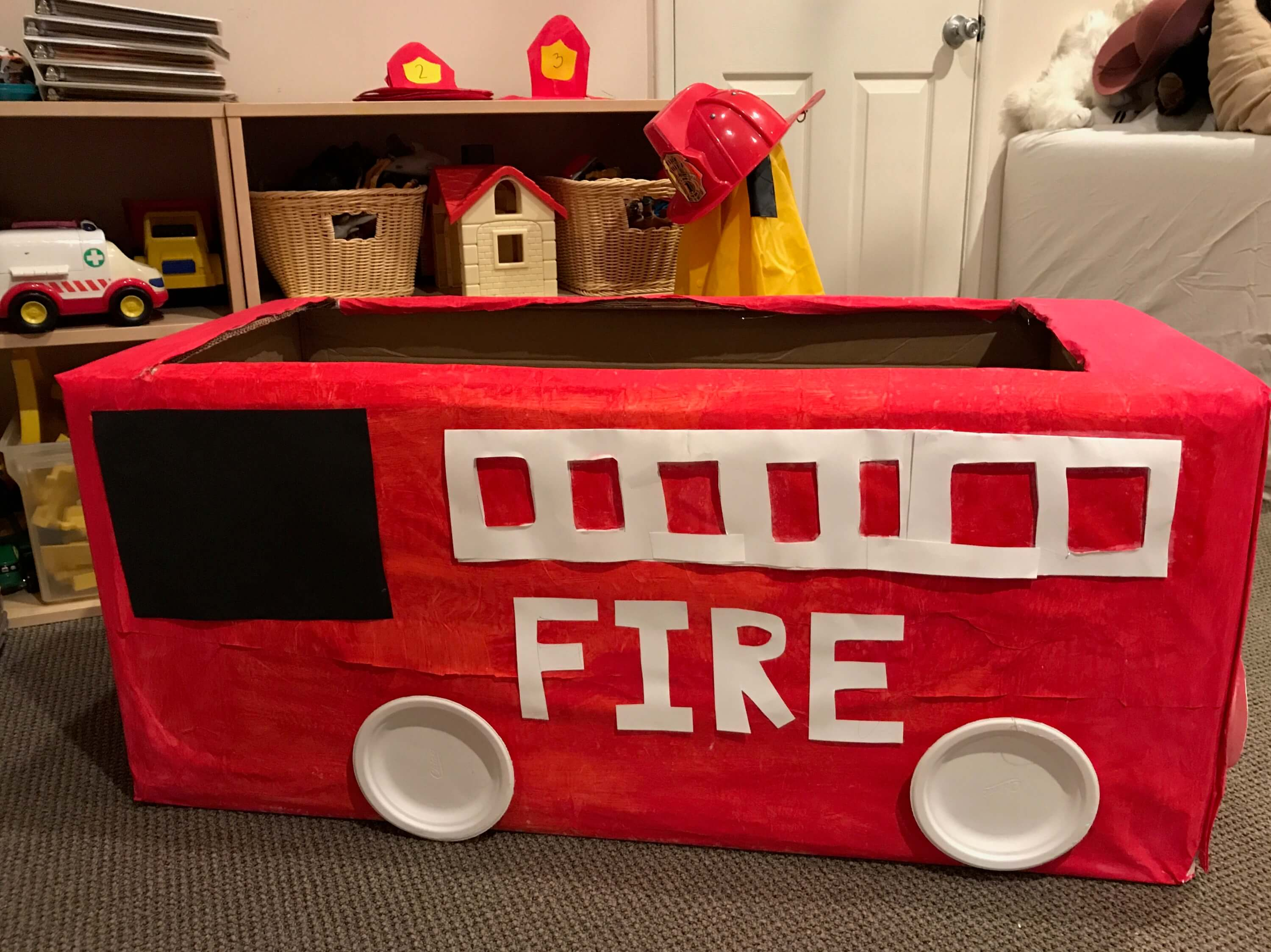 firetruck made out of a box at Early Childhood Development Associates' Class