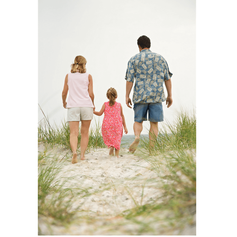 family walking together (mom, dad 1 little girl)