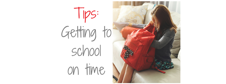 "text: ""Tips: getting to school on time"" picture: girl sitting on the couch and looking into her red backpack"